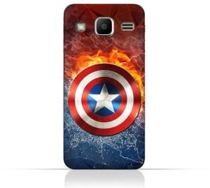 Samsung Galaxy J2 Prime TPU Silicone Protective Case with Shield of Captain America Design