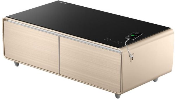 Delightful Yamada Smart Coffee Table Minibar With Smart Bluetooth Music System  Gold