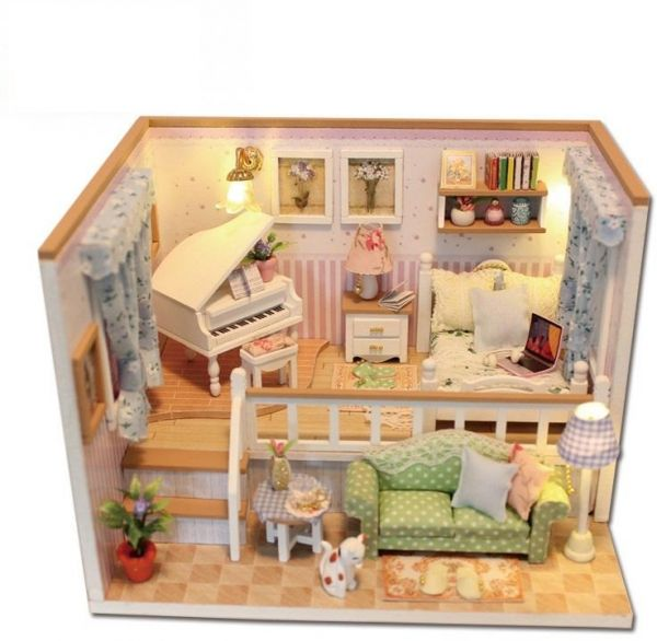 Diy Miniature Wooden Doll House Furniture Kits Toys Handmade Craft