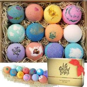 LifeAround2Angels Bath Bombs Gift Set 12 USA Made Fizzies Shea Coco Butter Dry Skin Moisturize Perfect For Bubble Spa Handmade Birthday