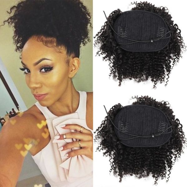 Souq 8inch Human Hair Afro Puff Ponytail Extensions For Black