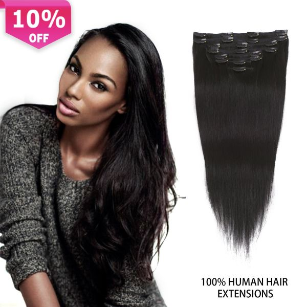 Buy Clip In Extensions Black Human Hair Thick Clip In Hair