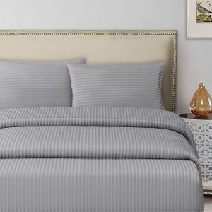 Silver Single Size 100 X 200 + 30 Cm Hotel Linen Fitted Bed Sheet