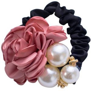 Charm Satin Ribbon Rose Flower Pearls Hairband Ponytail Holder Hair Accessories