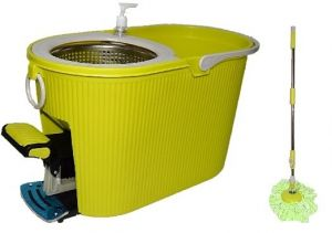360 Rotating Spin Mop Steel dry Bucket With Padle - Green