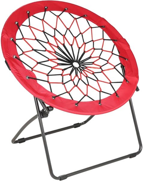 Bunjo Round Bungee Cord Camping Chair   Red