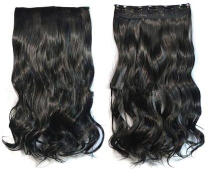 women black color synthetic 5 clips hair extension  f26261855a