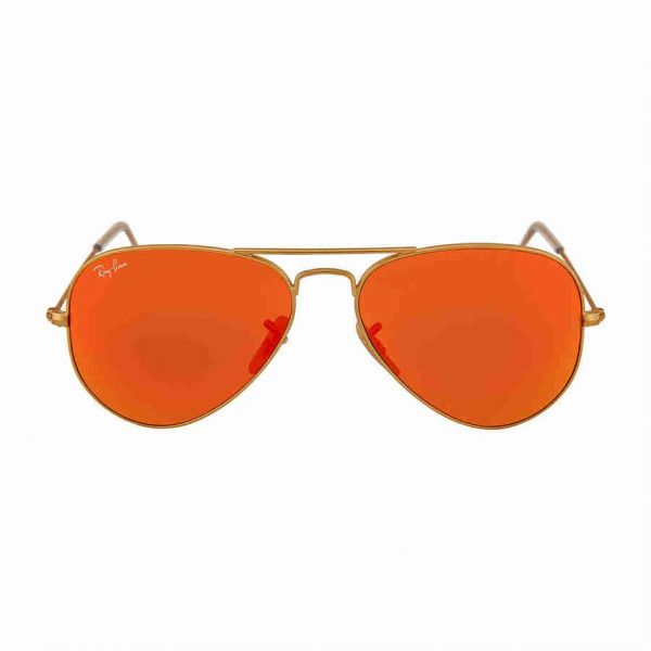 7bba94e8d8e5 Ray-Ban AVIATOR LARGE METAL - MATTE GOLD Frame CRYSTAL BROWN MIRROR ORANGE  Lenses 55mm Non-Polarized
