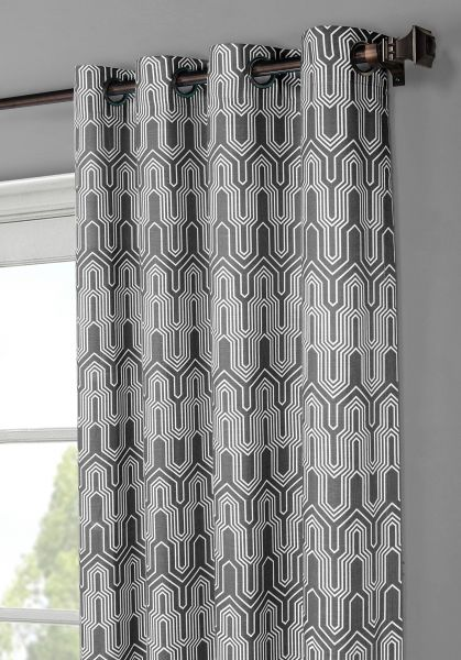 Window Elements Juneau Printed Cotton Extra Wide 104 X 96 In Grommet Curtain Panel Pair Charcoal