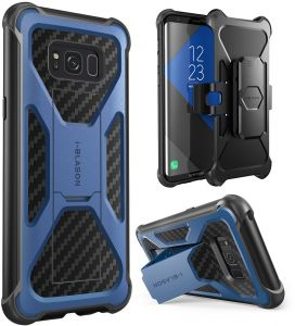 i-Blason Galaxy S8 Case, Transformer Samsung Galaxy S8 2017 Release [Heavy Duty] [Dual Layer] Holster Cover case with [Locking Belt Swivel Clip] (Navy)