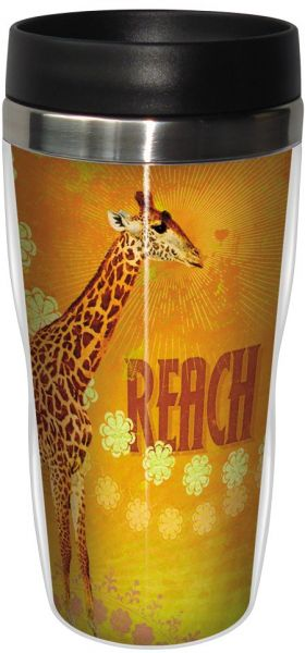 Fun Reach Giraffe Travel Mug, Stainless Lined Coffee Tumbler, 16 ...