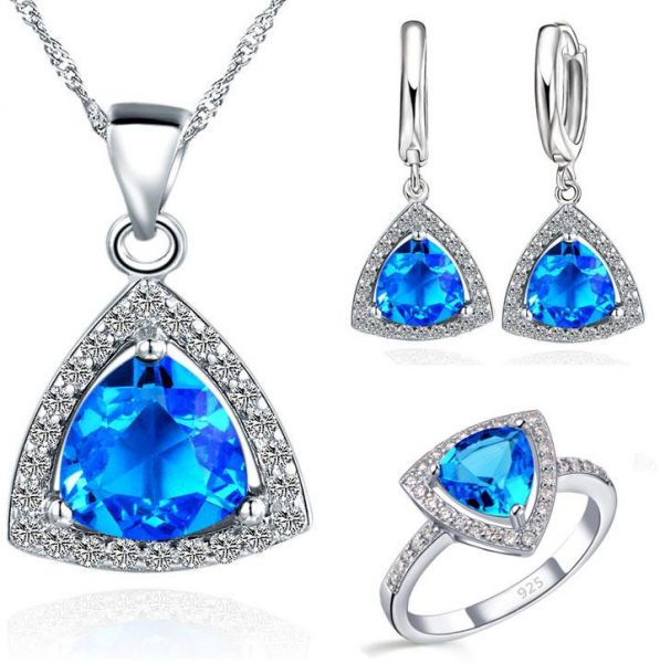 BESTPICKS Swarovski Elements Triangle Blue Crystal 925 Sterling Silver  Pendant Necklace Earrings and Ring for Women  e512752137