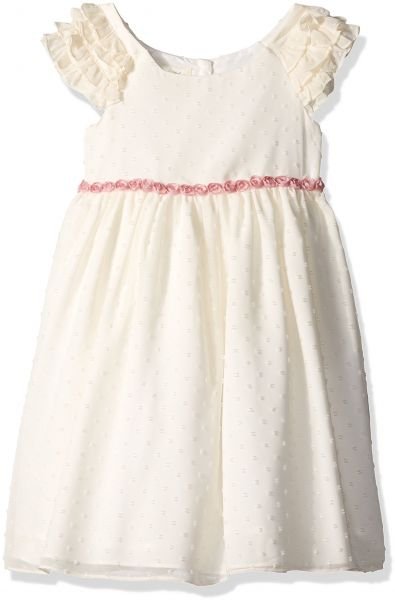 Laura Ashley London Little Girls Ruffle Sleeve Party Dress White