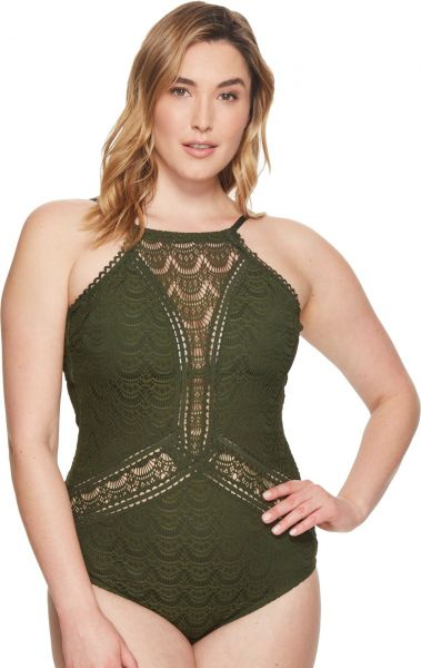 07f2b12ab478f BECCA ETC Women s Plus Size Color Play High Neck One Piece Swimsuit