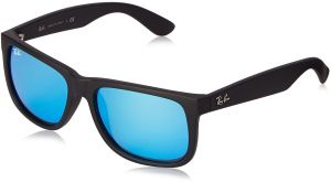 fb4dfcf9b6 Ray-Ban JUSTIN - BLACK RUBBER Frame GREEN MIRROR BLUE Lenses 51mm  Non-Polarized