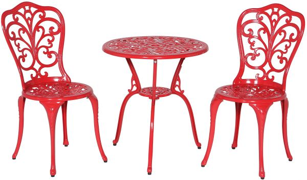 Meadow Décor Bistro Table And Chair Set Red Daisy