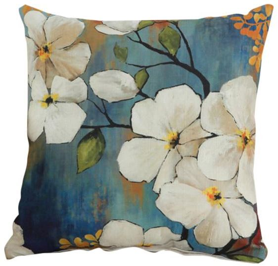 Oriental Flora and Fauna Collection - Floral White Decorative Cushion Cover  with Cushion Filling Throw Pillow  68f2edea865a