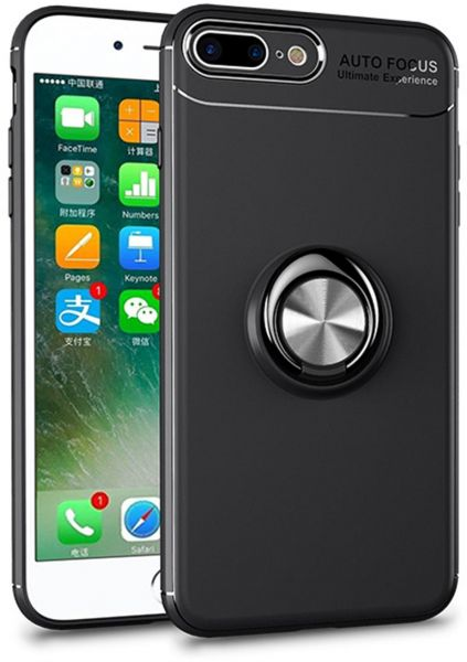 TPU Case for IPhone 8 PLUS / 7 PLUS with Ring Kickstand Cover Holder  Stander 360 Degree Adjustable Grip and Metal Compatible with Magnetic Car  Mount