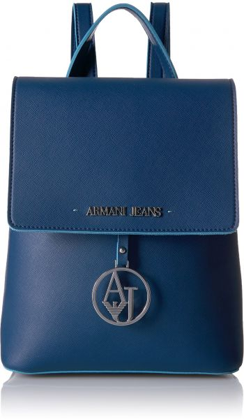 Armani Jeans Saffiano Color Trim Backpack Navy