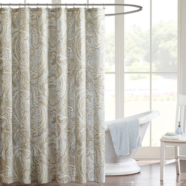 Madison Park Ronan Design Organic Cotton Fabric Long Shower Curtain Paisley Classic Curtains For Bathroom 72 X Blue
