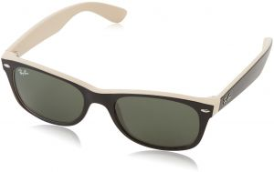 7b9ebde0a1 Ray-Ban NEW WAYFARER - TOP BLACK ON BEIGE Frame CRYSTAL GREEN Lenses 52mm  Non-Polarized
