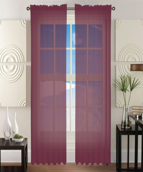 "Elegant Comfort 2-Piece SHEER Window CURTAIN/PANEL with 2"" ROD POCKET - Window Curtain Treatment, All Sizes and Many Colors Available 60""w X 84"" Red ..."