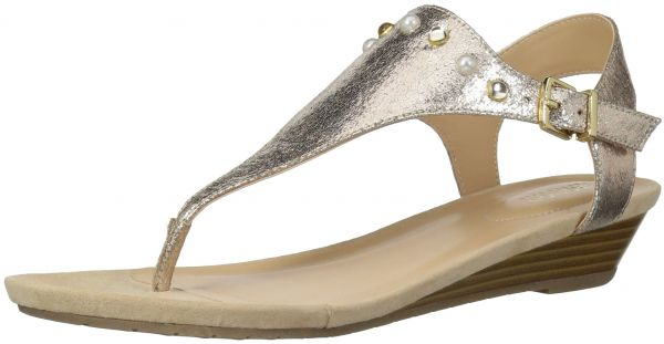 e9b293356 Kenneth Cole REACTION Women s Great Mix Studded T-Strap Wedge Sandal ...