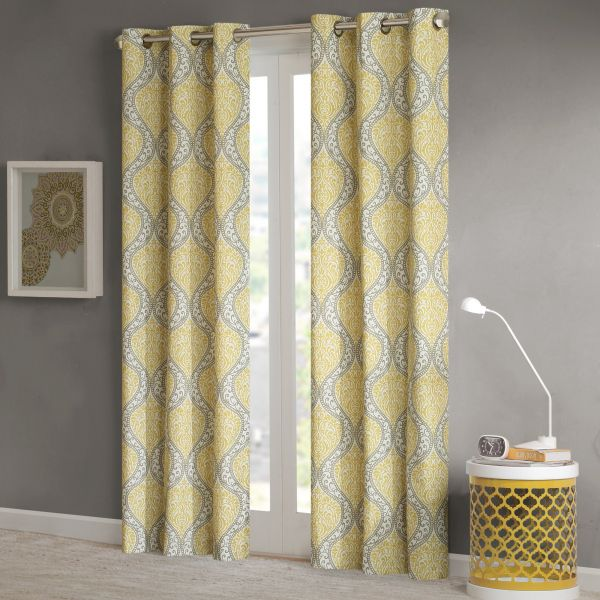 Intelligent Design Yellow Curtains For Living Room Global Inspired Grommet Window Bedroom Senna Print Darkening 42x84