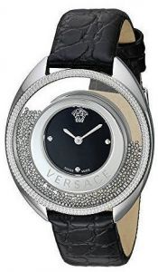 9c4a6c45375f9 Versace Women s Black Dial Leather Band Watch - VAR010016