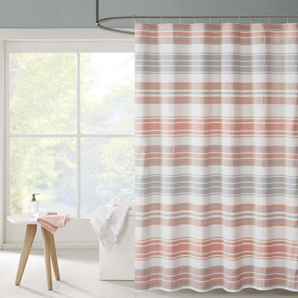 Ana Puckering Stripe Shower Curtain Coral 72x72