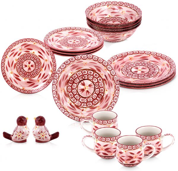 Chef Manal Alalem Temptations Cranberry Dinnerware Set 18 Pieces