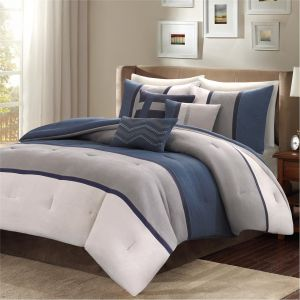 Madison Park Palisades Cal King Size Bed Comforter Set Bed in A Bag - Navy, Grey, Pieced Stripe - 7 Pieces Bedding Sets - Micro Suede Bedroom Comforters
