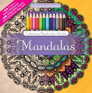 Mandalas Adult Coloring Book Set With 24 Colored Pencils And Pencil Sharpener Included Color Your Way To Calm