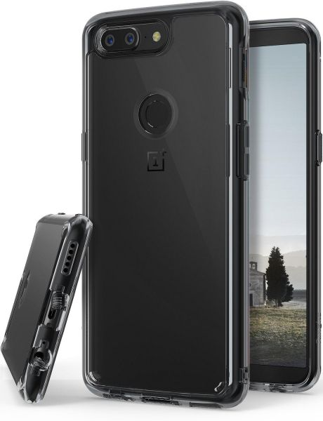 Oneplus 5T Case , Ringke FUSION Crystal Clear Minimalist Transparent PC  Back TPU Bumper Smoke Black. By Ringke, Mobile Phone Accessories