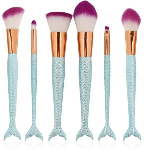 6 pieces of Mermaid makeup brush set blue fish tail handle