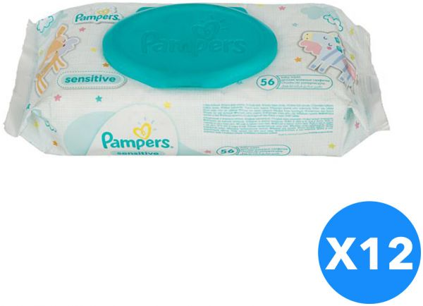 Pampers Sensitive Wet Wipes For Baby 56 Wipes Set Of 12