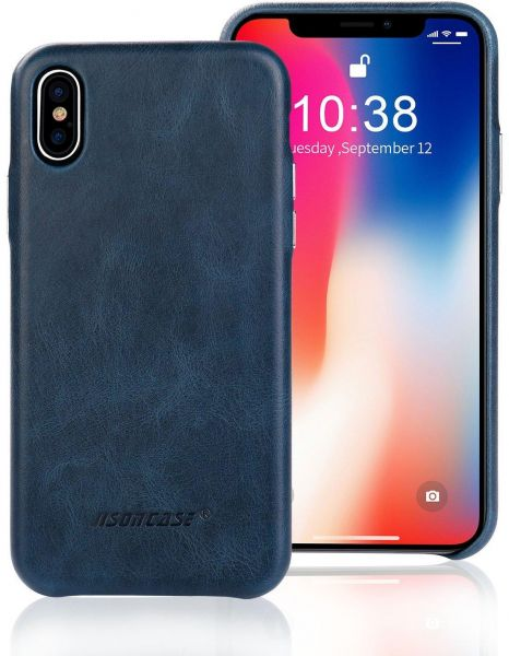 new product 8d209 9fa43 Jisoncase Genuine Leather Case with Aluminum Buttons for Apple iPhone X  Slim Protective Cowhide Back Cover - blue