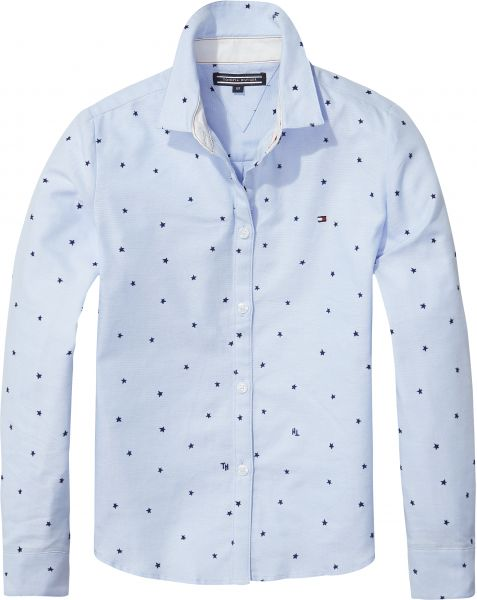 Tommy Hilfiger Printed Shirt For Girls 12 To 18 Months Light Blue