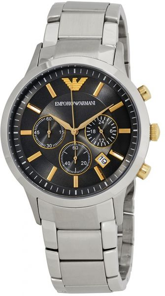 Emporio Armani Classic Grey Dial Stainless Steel Band Watch - AR11047