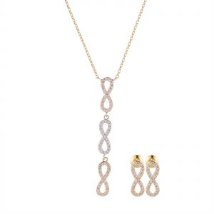 Denovo Copper 3 Toned Infinity Stud Earring Necklace Set