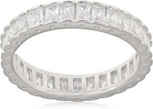 ee0a3677bf86b Denovo Women s Silver 1.2 Cts. Sparkle Baguttes Dibla Classical CZ Ring - 8