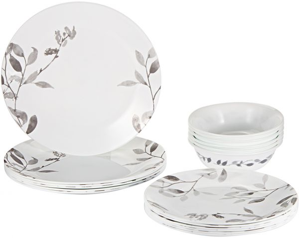 Corelle Vitrelle Misty Leaves Dinnerware Set 18 Pieces - White u0026 Grey  sc 1 st  Souq.com : leaves dinnerware - pezcame.com