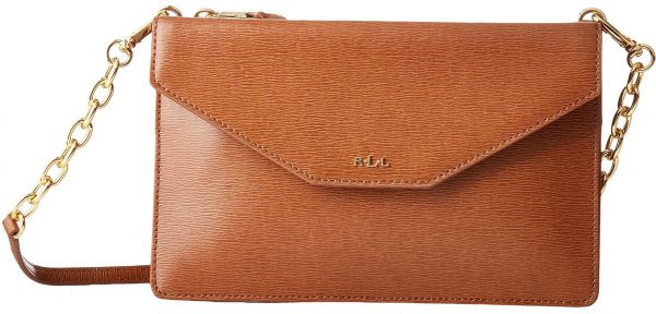 Lauren Ralph Newbury Erika Small Crossbody Bag For Women Leather Tan