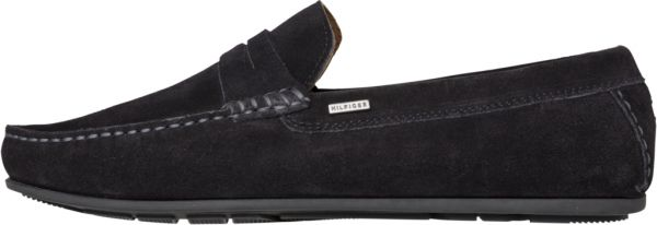 f281e5355bc22c Tommy Hilfiger Classic Suede Penny Loafers for Men - Black