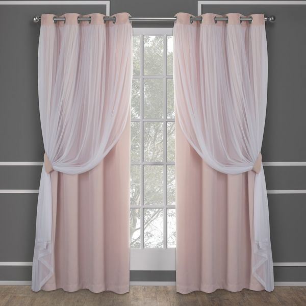 exclusive home curtains catarina layered solid blackout and sheerexclusive home curtains catarina layered solid blackout and sheer window curtain panel pair with grommet top, 52x84, rose blush, 2 piece souq uae