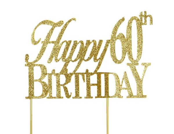 All About Details Gold Happy 60th Birthday Cake Topper