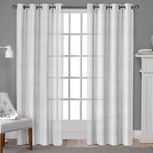 Exclusive Home Curtains Winfield Grommet Top Window Curtain Panel Pair 84 Length White EH8231 02 2 84G