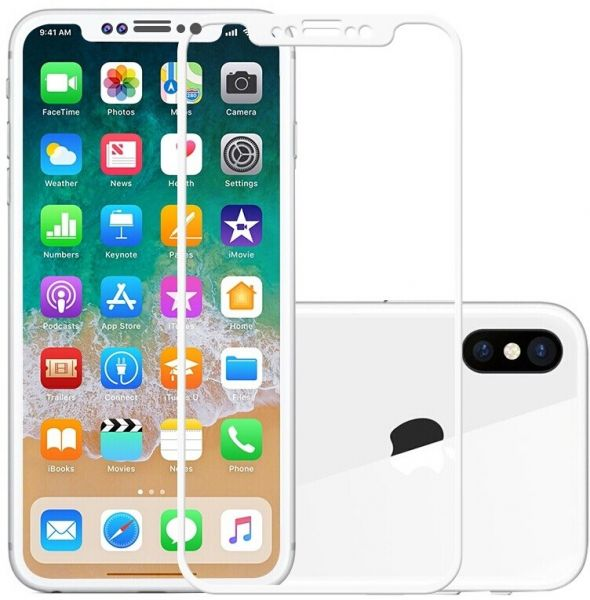Tempered glass screen protector 5d for iPhone X -white