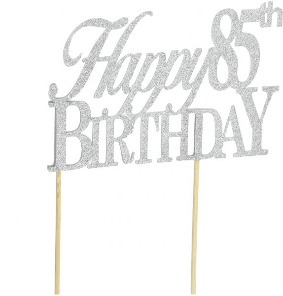 All About Details Black Happy 85th Birthday Cake Topper