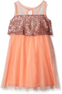 b2926c0ee Emerald Sundae Little Girls Illusion Sequin Pop-Over with Mesh Skirt Dress,  Coral, 5